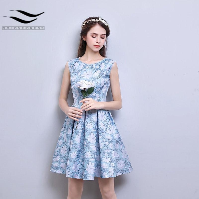 6244 Nuestro Propio Diseño Real Luz Azul Menta Flor Material Muestra Nuevo Vestido Corto De Fiesta Vestidos De Noche Vestido De Fiesta 2018 In