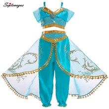 Костюм Аладдина жасмина для детей; костюмы принцессы жасмина для девочек; вечерние костюмы на Хэллоуин; платье для танца живота для детей; маскарадный костюм для девочек