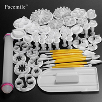 New 46Pcs Set Fondant Cake Decorating Sugarcraft Plunger Cutter Tools Mold Cookies Full Set Mold