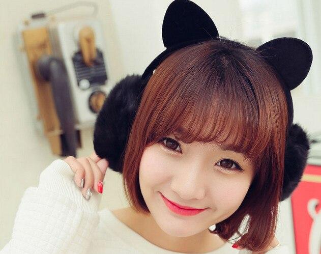 Lady Bowknot Cat's Ear Package Ear Warmers  Female Earmuffs Fur Earmuffs Earlap Ear Cover Ear Muffs Orejeras Winter Freeshipping