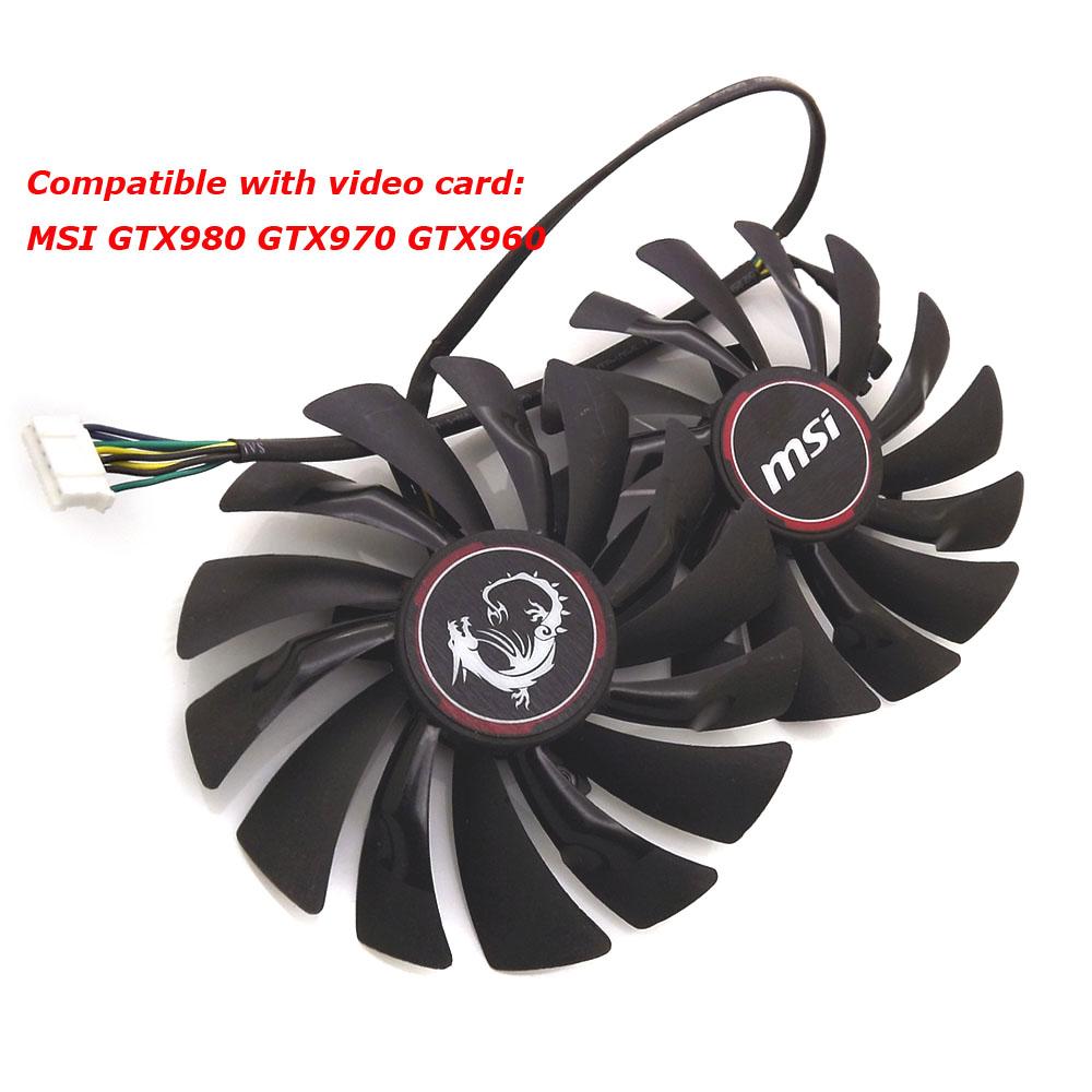 Prix pour Livraison gratuite radiateur ordinateur refroidisseur ventilateur de refroidissement MSI GTX980 GTX 970 de JEU vidéo VGA Carte Graphique