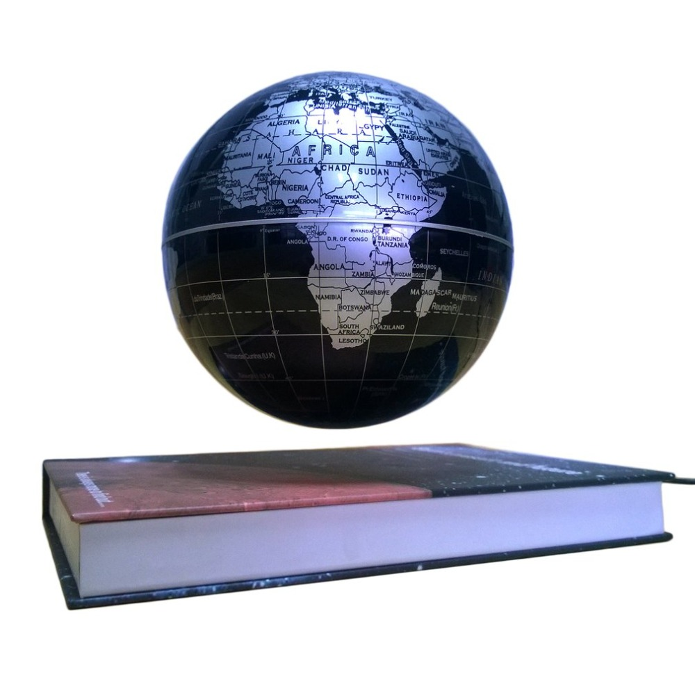 Black Color 6 Magnetic Rotating Globe Anti-Gravity Floating Levitating Earth 360-degree Rotating For Desktop Office Home Decor ...