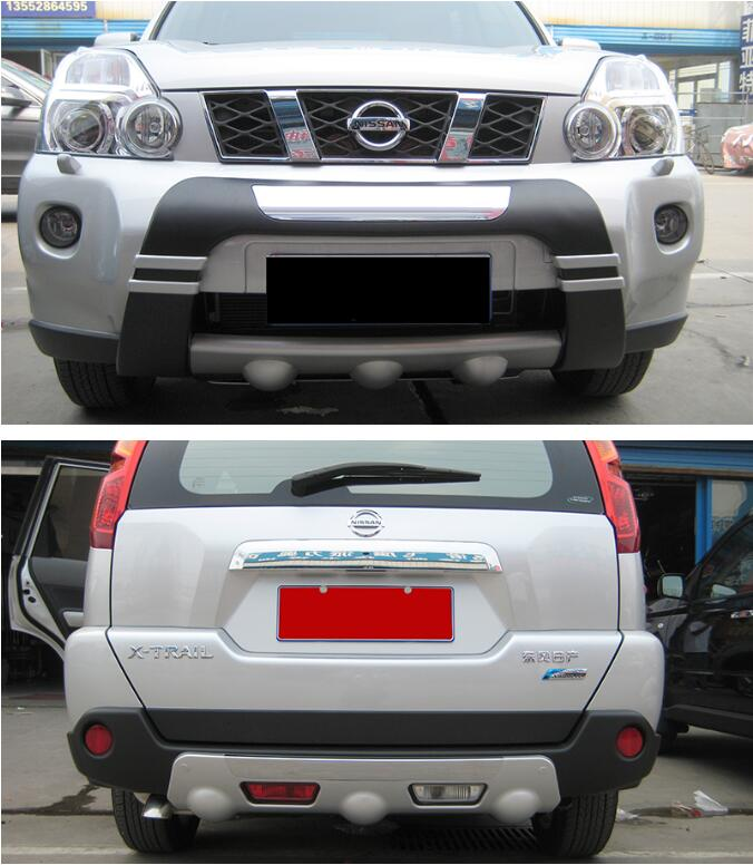 2PCS Car ABS Front + Rear Bumper Protector Guard Skid Plate For Nissan X-Trail T31 2008 2009 2010 2011 FAST BY EMS abs front rear bumper protector guard skid plate cover for nissan qashqai 2007 2008 2009 2010 2011 2012 2013 car accessories