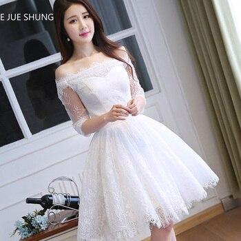 582de95e564 E JUE SHUNG маленькое белое платье винтажное кружевное платье с короткими  рукавами Короткие свадебные платья с