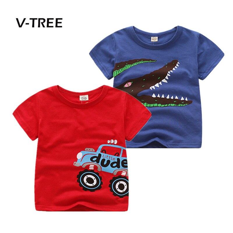 V-TREE été coton t-shirt pour garçon voiture impression garçons t-shirt mode enfants bébé hauts t-shirts enfants marque vêtements 2-8 ans