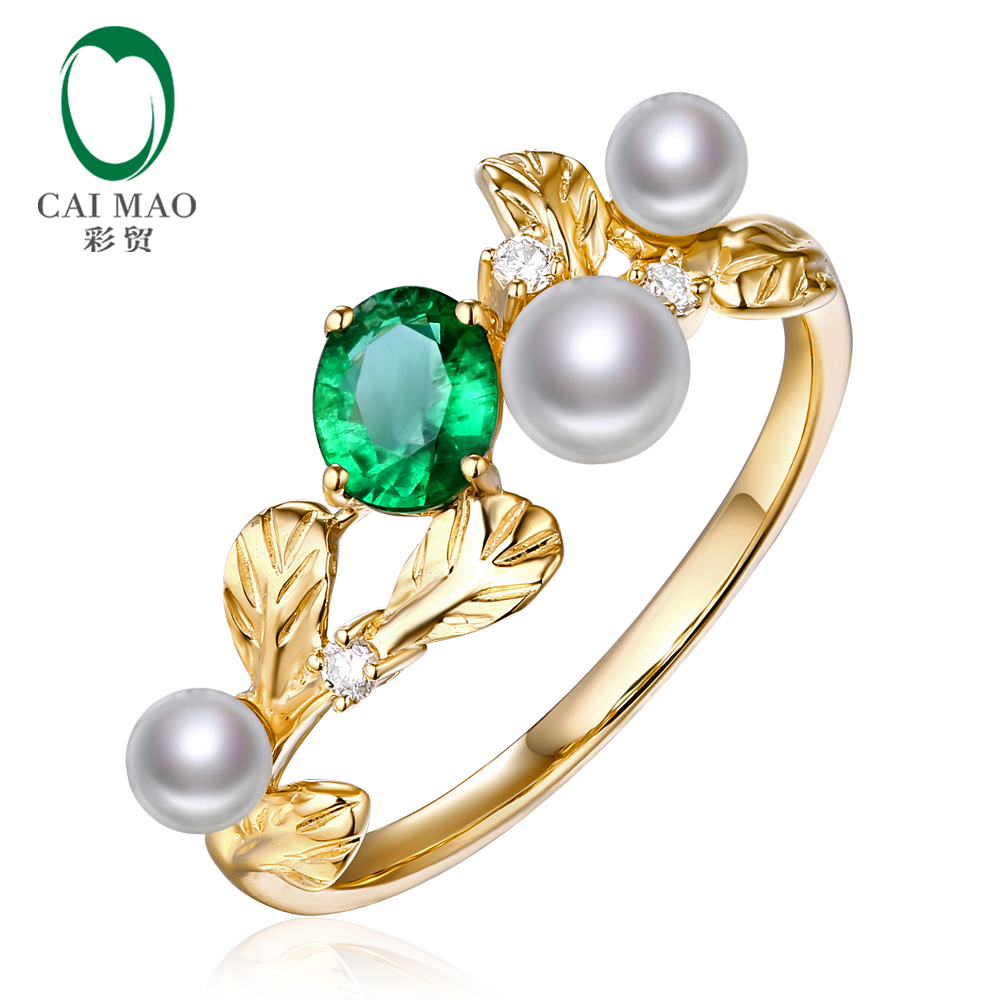 Caimao 14k Yellow Gold Natural 0.45ct Emerald with Pearl & Diamond Vintage Design Engagement Wedding Ring caimao jewelry natural red ruby with pearl and diamond engagement 14ct yellow gold pendant
