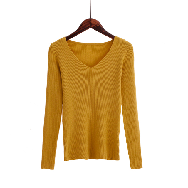 Autumn V Neck Sweater Knitted Fashion Womens Sweaters 2019 Winter Tops For Women Pullover Jumper Pull Femme Hiver Truien Dames 6