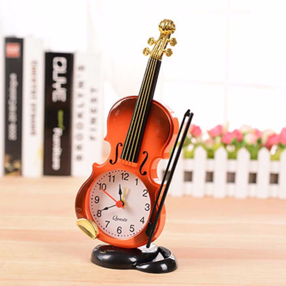 Beautiful Fiddle Quartz Alarm Clock Desk Plastic Craft 2017 New 2 Colors Creative Instrument Table Clock Student Violin Gift Home Decor Home Decor