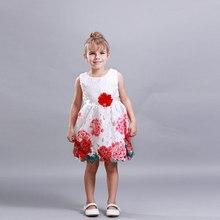 2016 Принцесса Девушки Цветочные Платья Летние девочка Ro печати Pattern Платье Дети Дети Досуг прекрасный для девочек