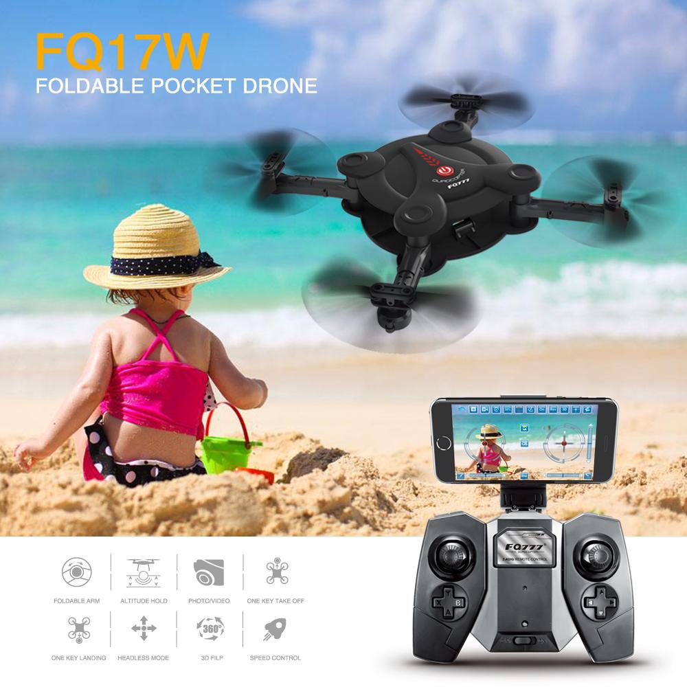 Prix pour Vente chaude FQ777 FQ17W Mini WiFi FPV Pliable De Poche Drone 0.3MP Caméra Avec Haute Tenue Mode RC Quadcopter VS Eachine E55