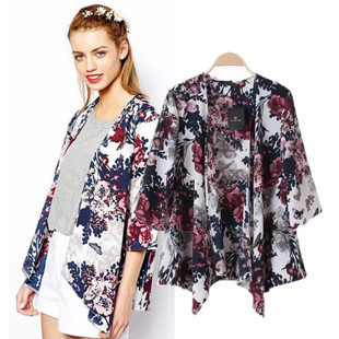Factory Price 2017 New Fashion Women Vintage Flower Print Chiffon   Blouse     Shirt   Women Loose Chiffon Kimono Cardigan