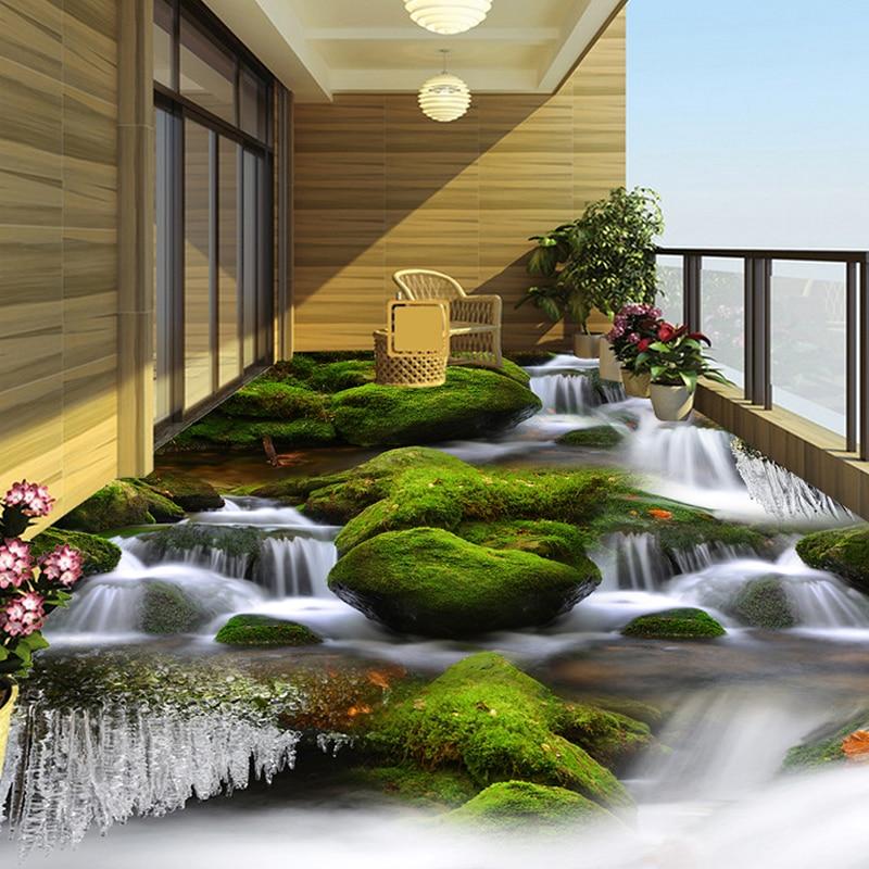 Creek River Waterfall 3d Bathroom Mural Pvc Waterproof