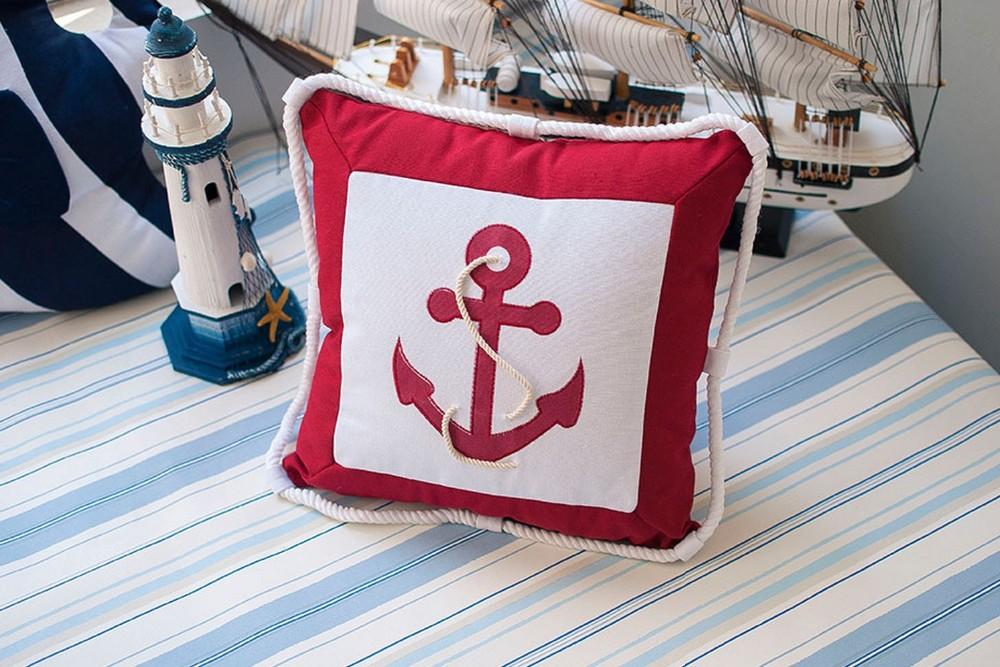 Mediterranean Navigation Furnishing Navy Sea Anchor Marine Pillow Case Canvas For Compass Embroidery Cushion Cover Canvas Pillow Case Pillows Case Pillowcanvas Cushion Cover Aliexpress