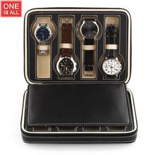 8 Cuadrículas Reloj de Cuero Caja de Mostrar Los Relojes Display caja de Almacenamiento Caja De Almacenamiento Bandeja de Reloj de Viaje Con Cremallera Caso Del Colector