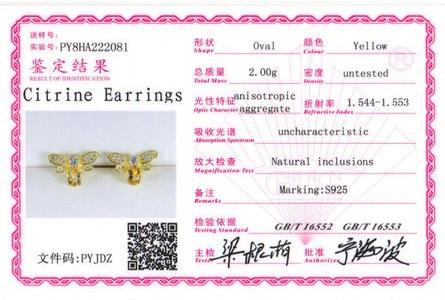 HTB1H4JrzLiSBuNkSnhJq6zDcpXan LAMOON Bee Earring For Women 925 Sterling Silver Citrine Gemstone Stud Earrings 14K Yellow Gold Plated Fine Jewelry LMEI041