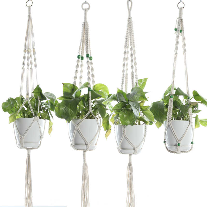 Macrame Plant Hanger Hanging Planter Wall Art Boho Home Decor 41 Inches Decorative Flower Pot Holder Boho Bohemian Home