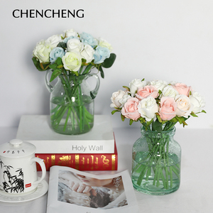 Image 3 - CHENCHENG ramo de flores artificiales rosas, 12 unidades por lote, boda, flor de seda Artificial, fiesta, hogar, Decoración, regalo de San Valentín
