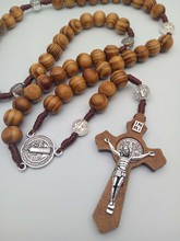Catholic Christian Ancient Bronze Retro Cross Jewelry Rosary Necklace crucifix wood jesus cross wood