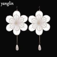 Cute Romantic Women Sweet Accessories White Lace Big Flower Dangle Earrings Simulated Pearl Drop Earrings Fine Gifts For Women