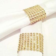 Servilleteros de 10 Uds de diamante, servilleteros de boda, envoltorio para boda, Hotel, hogar, mesa, centros de mesa, suministros de decoración, oro, plata