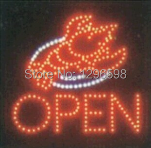 2017 Sale New Arrival custom Graphics 19x19 Inch indoor Ultra Bright flashing Led Lobster Shop open Sign