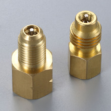 2Pcs R1234yf Hose Adapter 1/2inch ACME LH Left Hand 1/4inch SAE Female FL Brass Valve Core