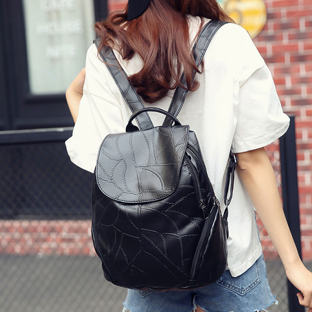 New Sheepskin Pattern Backpack Women PU Leather Backpack Travel Backpack Simple Girls School Bags for Teenage Girls Mochila