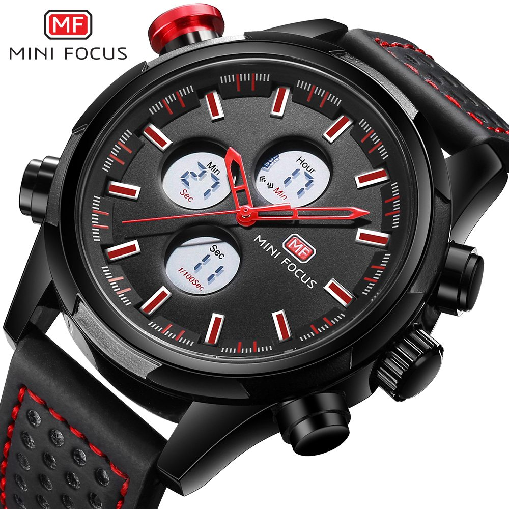 MINI FOCUS Luxury Brand Men Analog Digital Leather Sports Watches Men's Army Military Watch Man Quartz Clock Relogio Masculino new brand weide men sports watches mens military leather analog digital watch black relogio masculino led army wristwatch clock