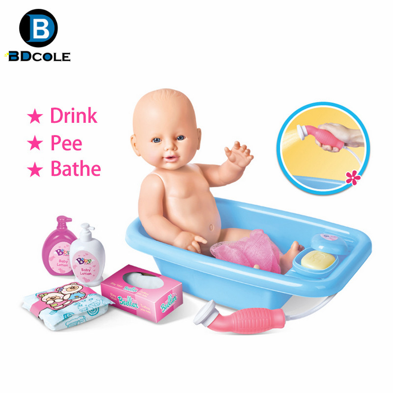 ФОТО BDCOLE 15inches 38cm Reborn Baby doll Bath Play Toy Blue and Pink Bathtub Shampoo Diaper and clothes Accessories Gift for Girl