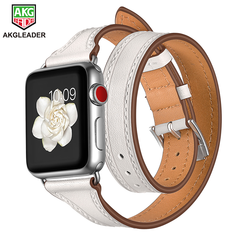 For Apple Series Watch Band Newest Slim Leather Strap Double Tour Wrist Bracelet For Apple iWatch Series 1 2 3 Watchband 38-42mm luxury ladies watch strap for apple watch series 1 2 3 wrist band hand made by crystal bracelet for apple watch series iwatch