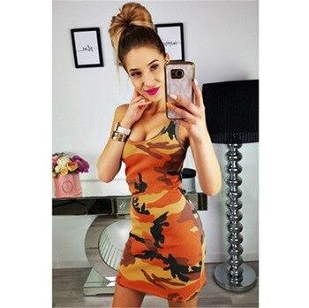2019 New Summer Fashion Women Sexy Tank Dress Slim Casual Camouflage Military O-Neck Print Splice Empire Mini Dresses Vestidos - 2673 Orange, S