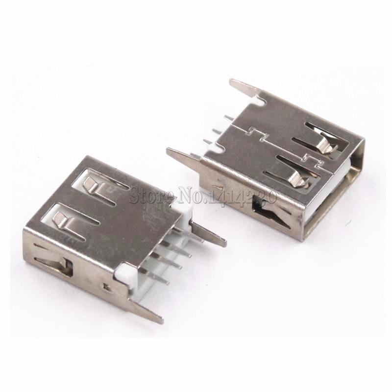 10Pcs USB Type A Female Socket 180 Degrees Vertical 4pins 15mm USB Interface