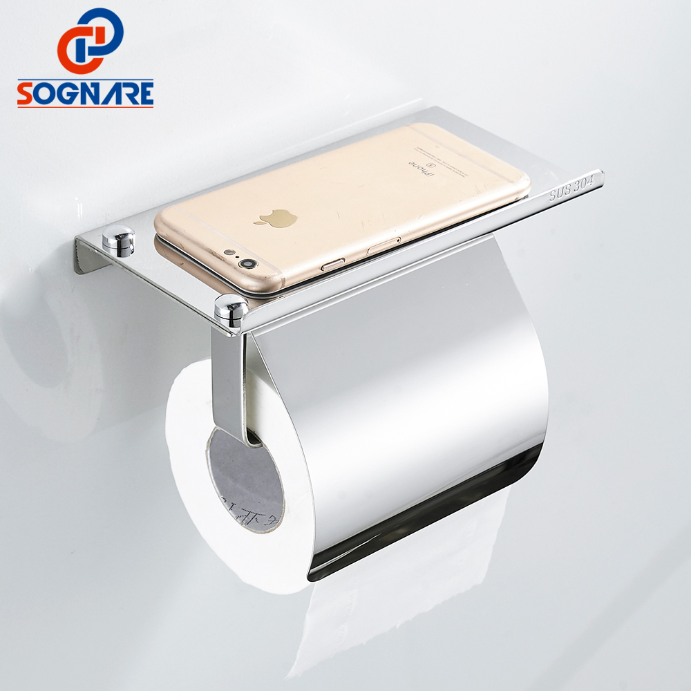 SOGNARE Wall Mounted Toilet Paper Holder with Phone Shelf 304 Stainless Steel Chrome Polished Paper Holder Bathroom Accessories everso wall mounted toilet paper holder with shelf stainless steel toilet roll paper holder tissue holder bathroom accessories