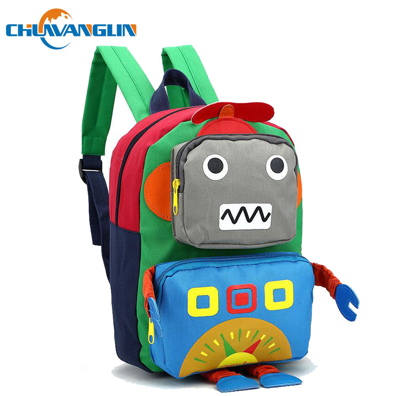 Chuwanglin Casual Robot Children's Backpack Fashion 1-5 Grade Boys And Girls Backpack School Bag Canvas Primary School Backpack