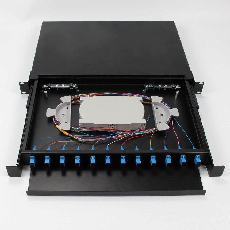 12 Port Optical Fiber Terminal Box Fiber Patch Panel SC FC LC Pigtail ODF 1U Optical Fiber Distribution Frame