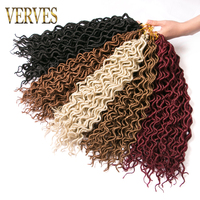 VERVES 6 pack Faux Locs curly Hair 16 inch Crochet Braid hair 24 strands/pack Kanekalon Synthetic Braiding Hair extensions