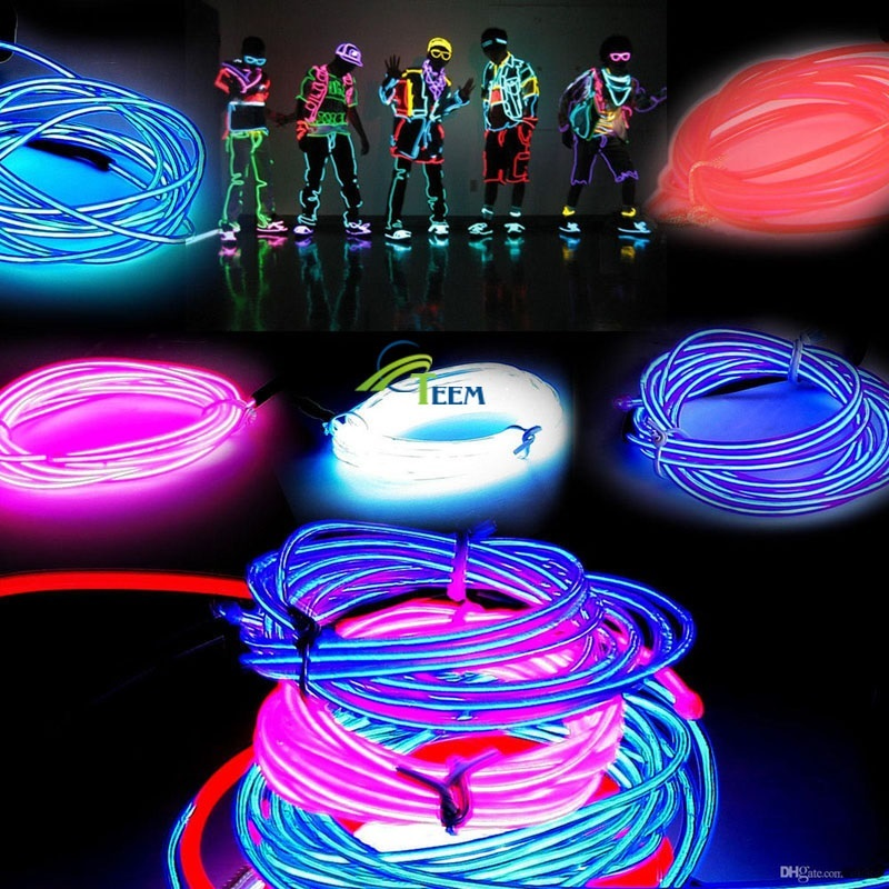 DHL 3M Led Flexible Neon Light Glow EL Wire Rope Tube Flexible 8 ...