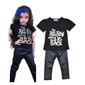 toddler girls clothing set summer letter t shirt+black pants clothing set for toddler girl 2016 summer toddler girl clothing set