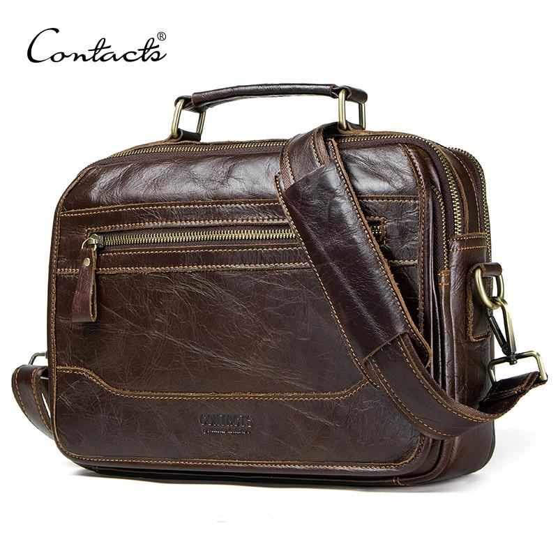 CONTACT'S Новый масло из коровьей кожи мужская сумка мужской сумка мужские сумки через плечо masculina bolso Большой случайный плечо сумки
