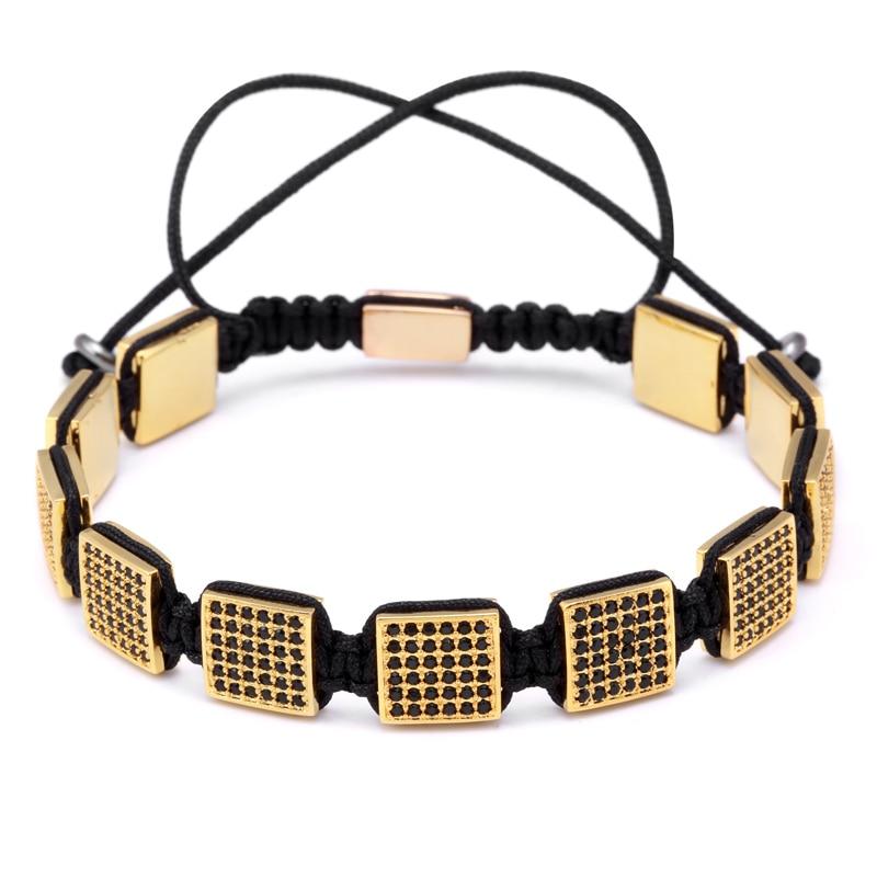 Magic Fish Trend Micro CZ Paved Square CZ Beads Braiding European American Weaving Bracelets For Men Women Jewelry magic fish bracelets