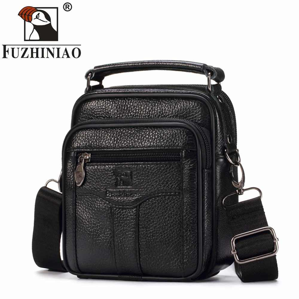 FUZHINIAO Real Cowhide Leather Men Messenger Bags Handbags Black Male Men's Small Crossbody Strap Tote Briefcase Man Small Sac