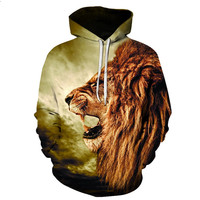 Men/Women Hoodies States 3D lion cap with a cap pocket Hoodies and with a hat fashion brand plus size 6XL hoodie tracksuit