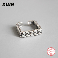 XIHA Genuine 925 Sterling Silver Rings for Women Geometric Square Chain Link Design Ring Adjustable Thai Silver Korean Jewelry