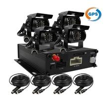 Бесплатная доставка 4CH GPS трек g-сенсор 128 ГБ SD автомобильный видеорегистратор MDVR видео Регистраторы обнаружения движения + 4 долг Металлические ИК автомобиля Камера
