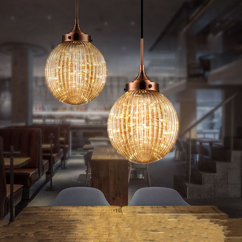 Nordic creative amber strip glass ball chandeliers American DIY home deco living room chandelier lamp strip light source