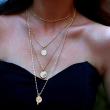 Vintage Coin Cross Pendant Choker Multilayer Necklace Set For Women Long Chain Choker Necklace Jewelry Boho gorgeous bell pendant choker necklace for women