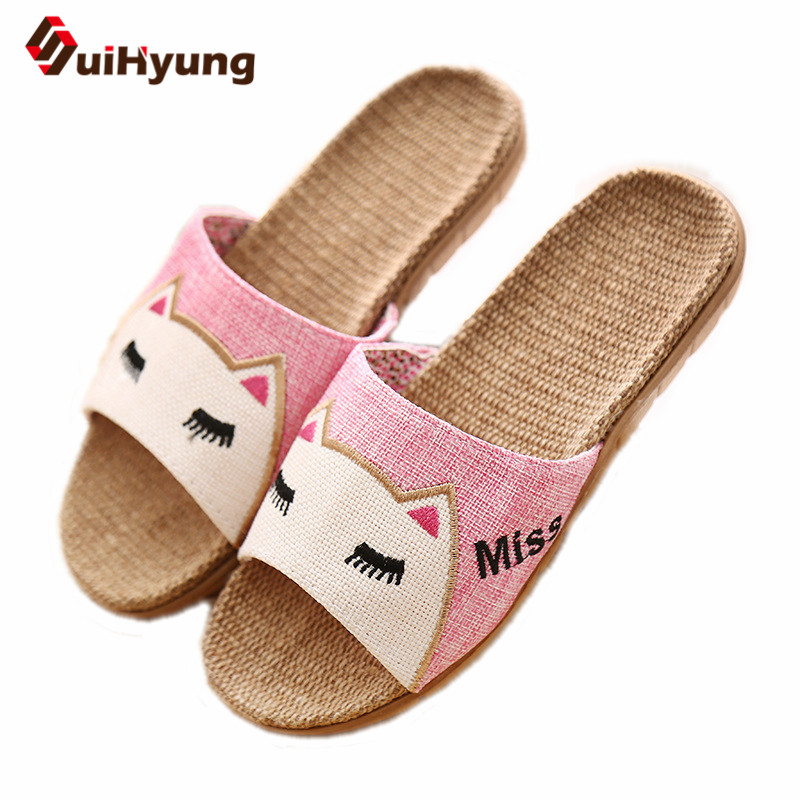 Suihyung Flax Slippers Women Summer Beach Shoes Cute Cat Flip Flops Breathable Slides Woman Indoor Linen Slippers Female Sandals