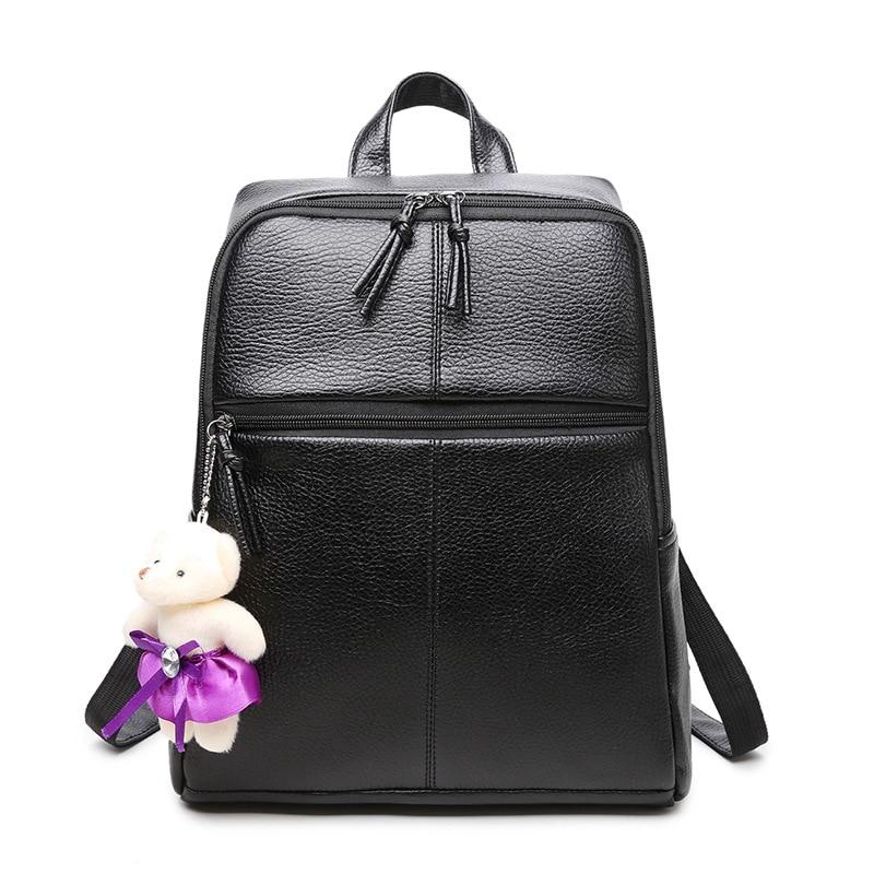 2017 Design PU Leather Backpack Women Daypacks for Teenage Girls School Bags Black Summer Brand Vintage