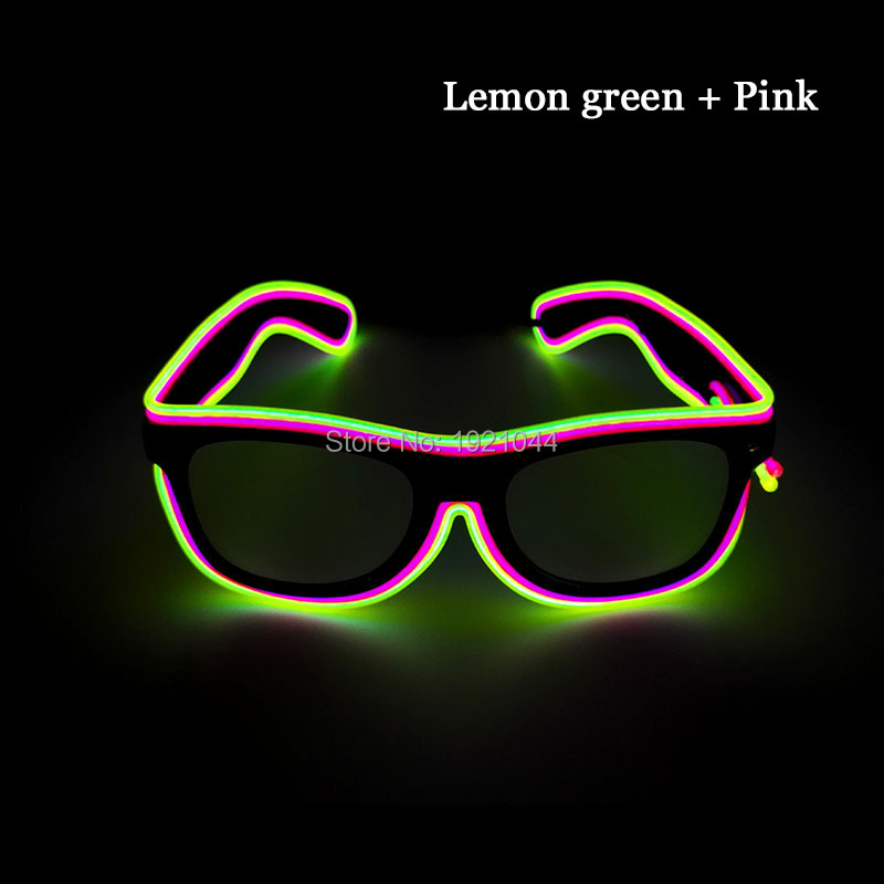 30pieces Double Color EL Wire Flashing Glasses Powered by 2-AA Batteries for Festival Glow Party Decoration Supplies
