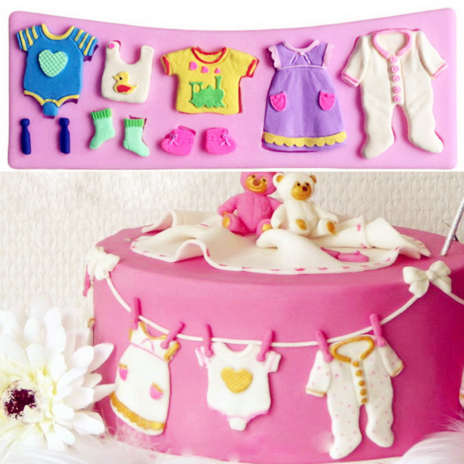 Hot Sale 3D Baby Clothes Shower Silicone Mould Fondant Kitchen Cake Mold  For Chocolate Baking Tool
